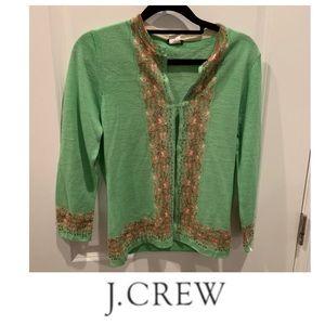 J. Crew Merino Wool Green Pattern Cardigan
